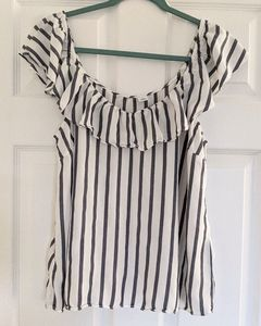 Old Navy Off the shoulder striped ruffle top